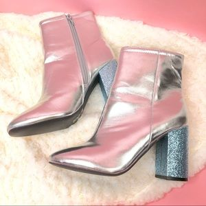 NEW Urban Outfitters silver blue glitter booties
